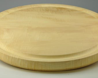 Highly Figured Curly Maple Round Cutting Board Turned on Wood Lathe