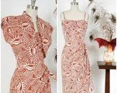 SALE - Vintage 1950s Dress - Rare Crisp Cotton Hawaiian Tiki Sarong Dress with Matching Bolero by Paradise Sportwear VLV