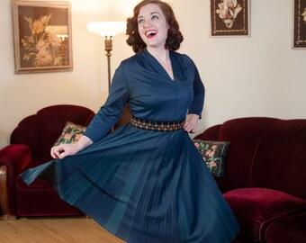 Vintage 1950s Dress -  Deep Navy Blue Nylon Jersey 50s Day Dress Full Pleated Skirt
