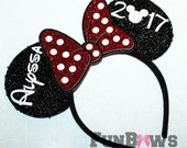 Custom Minnie Mouse Ears with a 3-D glitter bow - cheer, special occasion - customize this ! by FunBows !