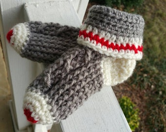 Infants Sock Monkey Style Bootie Sock Slippers.  Ready To Ship In Size 4-8.  Custom Order also Available.