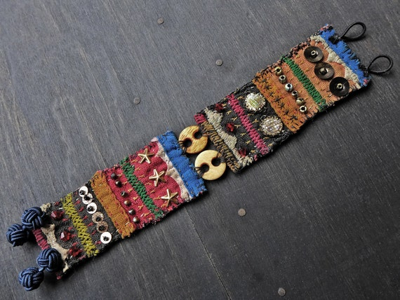 "Antique fabric wrist cuff bracelet - ""Keeper of Vessels"""