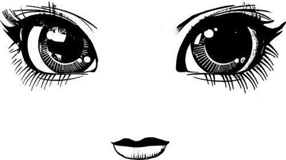 big doll eyes face clipart png clip art Digital Image Download digi stamp digital stamp toy clip art graphics printables