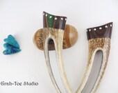 RESERVED Hair Fork, Hair Forks, Antler Hairforks,Antler Hair sticks Holly Wood Crystals Cap,Grahtoe Studio,Handmade,Gifts for Her,Woman Gift