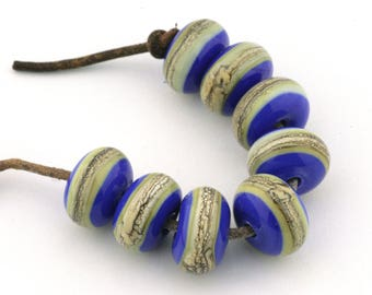 Somerset Stripes Handmade Glass Lampwork Beads (8 Count) by Pink Beach Studios - SRA (2618)