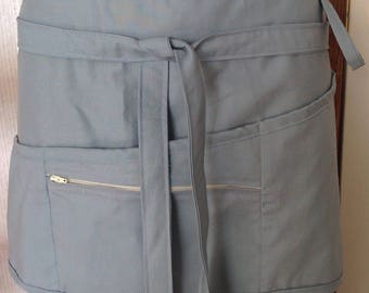 Vendor apron with zippered pocket lightweight blue chambray color