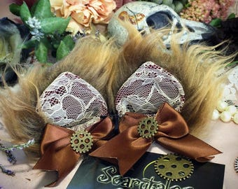 Clockwork Kitty Ears - Brown/maroon