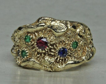 Tide Pool Ring in 14K With Emeralds, Ruby, Sapphire, Crabs, Starfish; And A Few Other Sea Critters Size 8.5