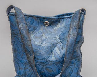 Distressed Leather Tote Bag - Blue - Small Tote