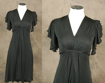 vintage 70s Dress - 1970s Little Black Dress Flutter Sleeve Dress Hi Lo Dress LBD Sz XS S