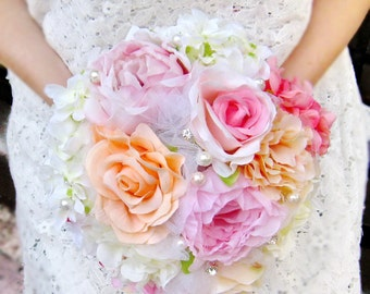 Rustic wedding bouquet, Bridal bouquet, Bridesmaid Bouquets, Rose Peony Flowers Wedding package, toss bouquet (B001)
