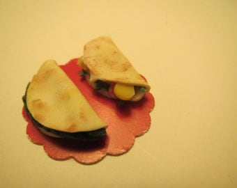 Set of 2 Quesadillas Dollhouse Miniatures Veggie, Cheese or Spinach