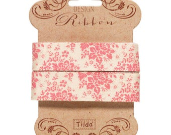 Tilda Ribbon, Audrey Pink Ribbon part of Tilda's Spring Diaries Collection, 3 metres of 20 mm wide pure cotton ribbon
