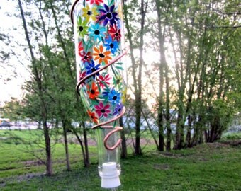 Hummingbird Feeder, Small Bird Feeder,  Recycled Clear Beer Bottle,  Hand Painted, Colorful Flowers, Copper Wire Wrapped