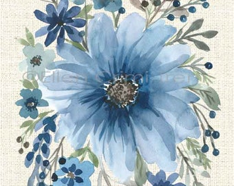 Watercolor Floral/ Blue watercolor decor/ boho chic wall art/ blue flowers/ watercolor painting/ blue wall art/ gifts for her