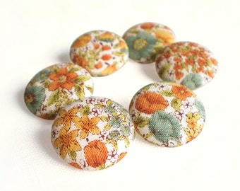 Fabric Button, Flowers Of Autumn, 6 Small or 6 Medium Sized Buttons, Orange Yellow Brown Beige Floral Fabric Covered Buttons Sewing Clothing