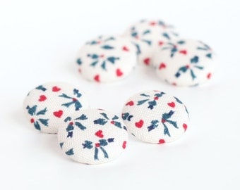 Fabric Button - Hearts and Leaves - 6 Small Fabric Buttons, Red White Blue Fabric Covered Buttons, 4th of July Buttons, Knitting Crocheting