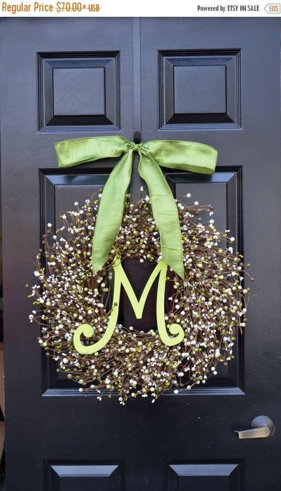 SPRING WREATH SALE Berry St. Patrick's Day Wreath, St. Patrick's Day Decor, Green Berry Wreath, Monogram Door Wreath, Shamrock Wreath