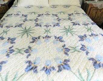 Handmade Quilt, Hand Embroidered Quilt, Iris Quilt, Cross Stitched Quilt, Blue Iris Bedspread, Blue Handmade Quilt