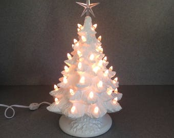 Traditional Snow White Ceramic Christmas Tree ....16 inches Snow and twinkles Ready to ship #16WgSnowMctLcs