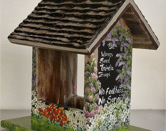 Unique Hanging Bird Feeder , Restuarant Style , with Menu , Flowers and Sign , Handmade , Hand Painted