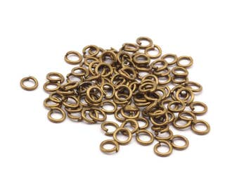 4mm Jump Rings - 1000 Antique Brass Jump Ring Connectors Findings (4x0.70mm) A0339