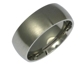 8mm brushed stainless steel mens ring mens steel wedding rings comfort fit wedding bands - Stainless Steel Wedding Ring