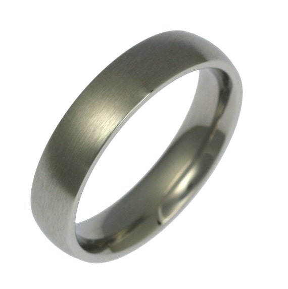 5mm Brushed Stainless Steel Mens Comfort Fit Wedding Band