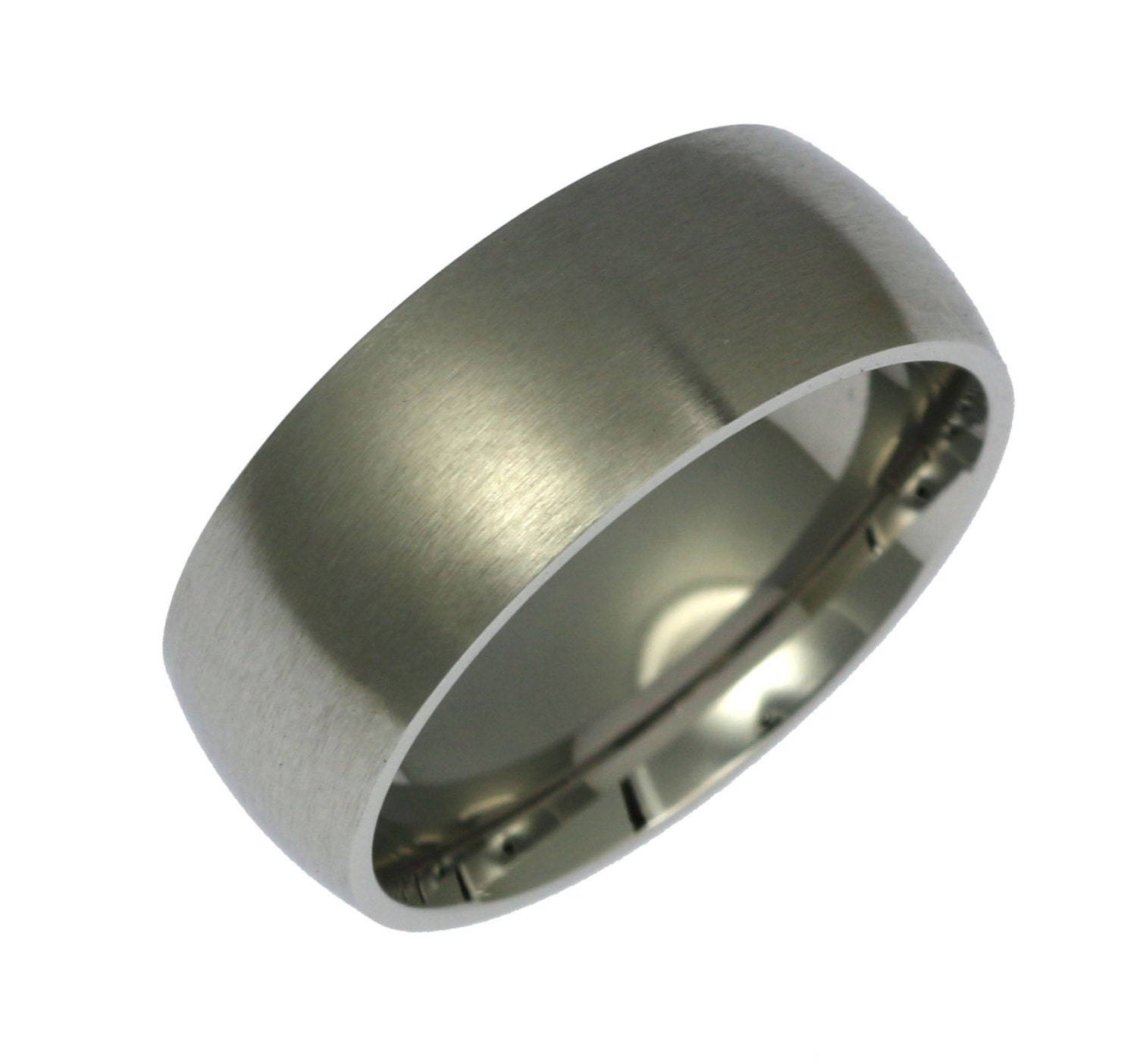 Stainless Steel Mens Wedding Band Ring 8mm: 8mm Brushed Stainless Steel Mens Ring Mens Steel Wedding