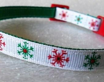 Snowflake Cat or Kitten Collar, Glitter Snowflakes