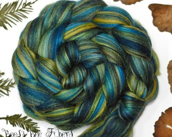 STARRY NIGHT - Custom Blend Merino and Tussah Silk Combed Top Wool Roving for Spinning or Felting - 4 oz