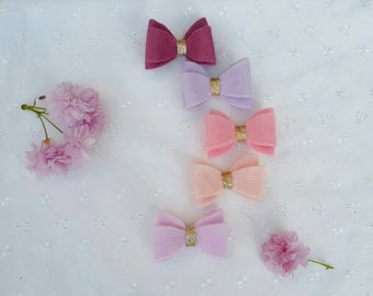 Felt hair bow set - Bows hair accessory - Mini hair clip - Felt hair bows - Fringe clips