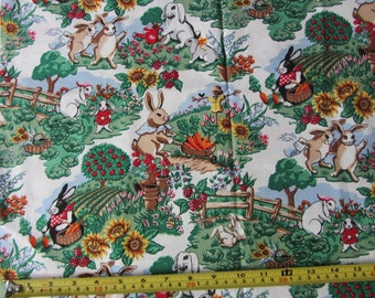 1 yrd, Spring Bunnies  by Robert Kaufman, designer fabric, bunnies in the garden, spring theme, easter bunny, kids, baby, quilting, easter