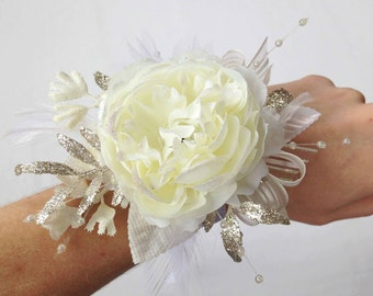 White/Ivory Irridescent Prom Corsage with Ribbon, Ready to Ship