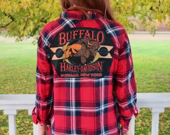 Buffalo Red Blue Button Up Plaid Top Upcycled/Recycled Tee Top Hippie Hipster Bohemian Clothing OOAK Size Medium