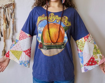 The Allman Brothers Peach Truck Off The Shoulder Vintage Patchwork Bell Sleeve Upcycled T-shirt Top Shirt Womens Hippie Boho Festival