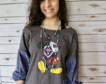 Mickey Mouse Plaid Tee Top Size Medium Gray Blue OOAK Clothing