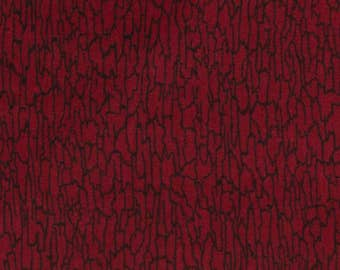 Red cotton fabric Random abstract scribbling all over resembling bark or snakeskin, Dolls, Made in the USA Cranston, 44 in wide By the Yard