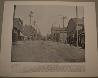 1894 Photography of America - Main Street Butte City Montana - Antique Victorian Era Fine Art for Framing 100 Years Old
