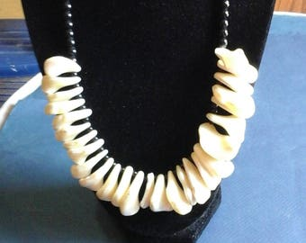 mother of pearl and black bead necklace