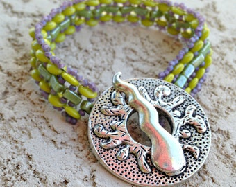 Lime and Lavender Bracelet with Large Silver Toggle Clasp