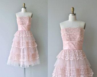 Tiny Dancer dress | vintage 1950s party dress | strapless lace 50s dress