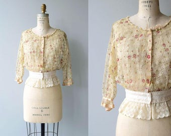 Louisa silk blouse | antique 1910s floral blouse | vintage Edwardian blouse