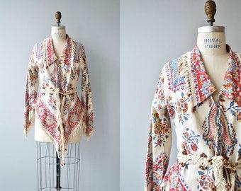 Indian Blockprint jacket | vintage 1970s indian cotton | 70s fringed jacket
