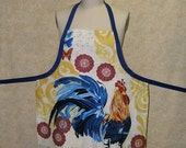Apron Blue Rooster chef style cotton cell pocket fully lined top stitched reversible poultry chicken yellow royal blue left hand pocket