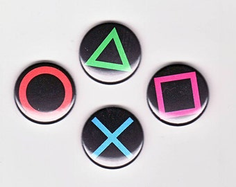 Playstation Controller Inspired Set of 4 one inch buttons
