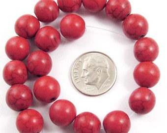 10mm Round Beads-Berry Red Candy Turquoise (20)