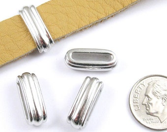 TierraCast Leather Cord Pewter Beads-Rhodium Silver DECO SLIDE ID 12x2mm (4)