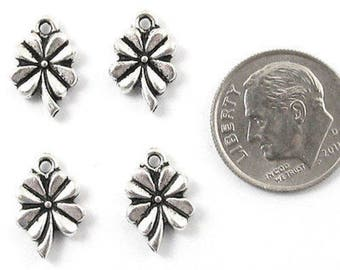 TierraCast Pewter Charms-Silver Four Leaf Clover (4)