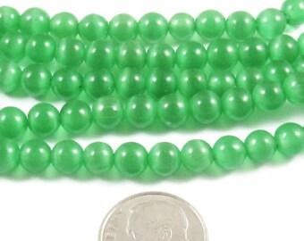 5.5mm Round Cat Eye Beads-MEDIUM GREEN (64 beads)